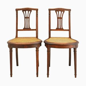 19th Century French Louis XVI Side Chairs with Caned Seats, 1870, Set of 2