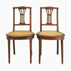 Französische Louis XVI Beistellstühle mit geflochtenen Sitzen, 1870, 2er Set