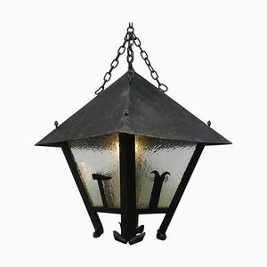 Large Antique French Arts & Crafts Iron & Glass Outdoor Lantern