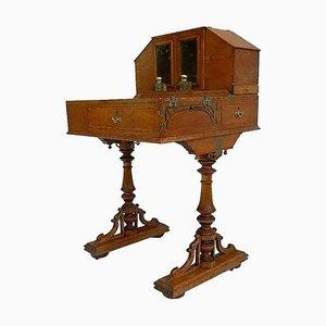 Antiker Davenport Honey Schreibtisch aus Eiche mit Original Tintenfässern