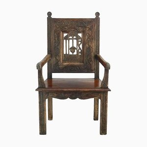 French Provincial Arts and Crafts Country House Carved Wood Throne Chair, 1900s
