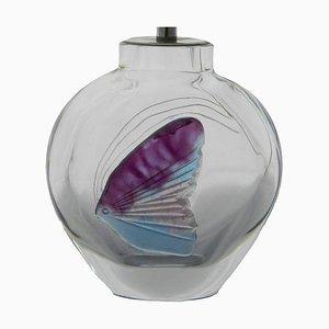 Glas Angel Fisch Tischlampe von Daum, 1970er