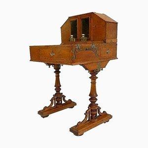 Davenport Honey Oak Campaign Desk with Original Inkwells, 1910