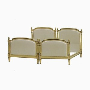 Antique French Louis XVI Revival Single Twin Beds with Original Paint, 1910, Set of 2