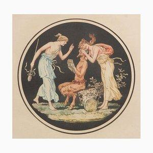 Gravure Allégrafienne Pan & Nymphes, France d'après Jean Guillaume Moitte, 1920s