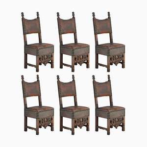 Late 18th Century Spanish Renaissance Dining Chairs, Set of 6