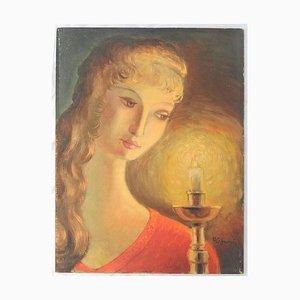 Französisches Naïve Öl Portrait Gemälde einer Frau von R Lesgourges, 1950er