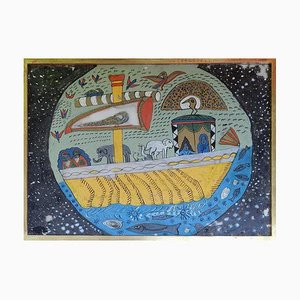 North African Noah's Ark Naive Reverse Painting on Glass, 1950s