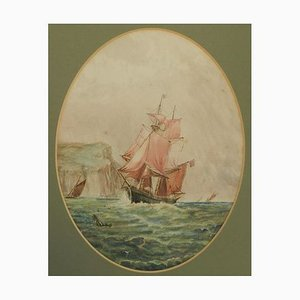 Watercolor of Sailing Ship at Sea English Marine, 1900s
