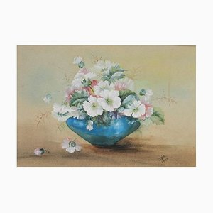 English Flowers in a Bowl Watercolour, 1905