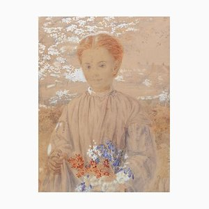 19th Century English Girl in Garden with Flowers Original Watercolor