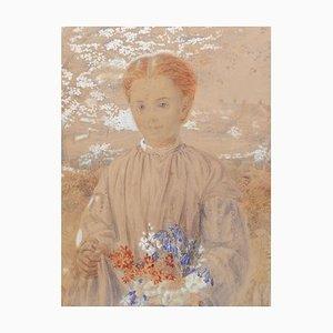 Jeune Fille du 19ème Siècle dans un Jardin avec des Fleurs Aquarelle Originale