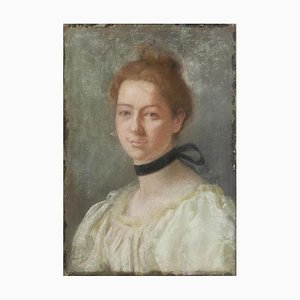 19th Century French Portrait of a Lady Painting Pastel on Canvas, 1880s