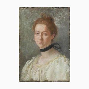 Französisches Portrait einer Dame, 19. Jh. Malerei Pastell auf Leinwand, 1880er
