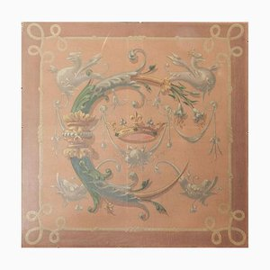 19th Century French Decorative Chimera Painting of Catherine de Medicis Emblems, 1840s