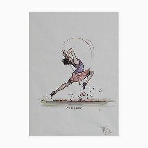 Karikatur eines Filmstar Golfer-Gemäldes von Peter Hobbs, 1950er