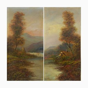 Peinture à l'huile Early Landscape Landscape par Trent British