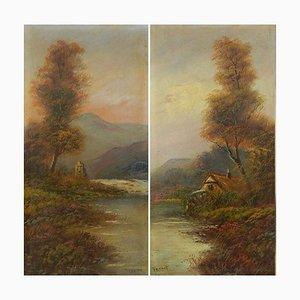 Pintura al óleo de principios del siglo XX de Trent British