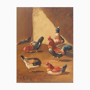 Peinture à l'Huile de Cour de Ferme du 19ème Siècle par Lambert Ducks