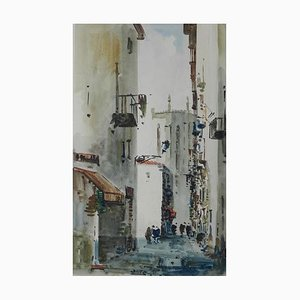 Mid-Century Spanish Watercolor Street Scene by Diaz