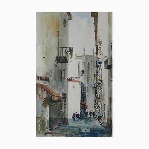 Scène de Rue Aquarelle Mid-Century par Diaz, Espagne
