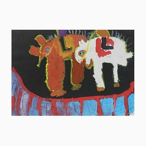 Naive Gemälde von Tieren von Chinese School Child 1962