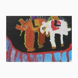 Peinture Naïve des Animaux par Chinese School Child 1962