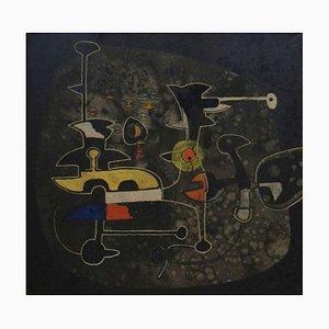Peinture Abstraite par Gian Carozzi Specialist Surrealist, Italie, 1950s