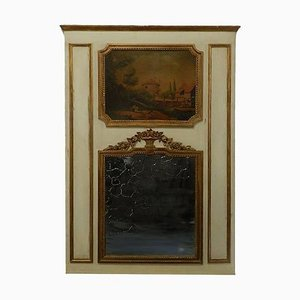 19th Century French Trumeau Mirror with Oil Painting and Giltwood Overmantel