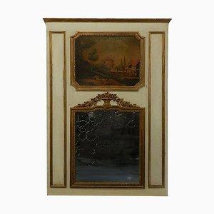 Französischer Trumeau Spiegel mit Ölmalerei und vergoldetem Holzrahmen, 19. Jh
