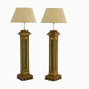 Spanish Arts & Crafts Torchiere Church Table Lamps with Original Painted Columns, Set of 2