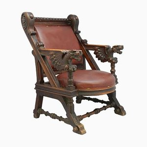 19th Century Spanish Renaissance Leather and Carved Dragons Throne Desk Chair