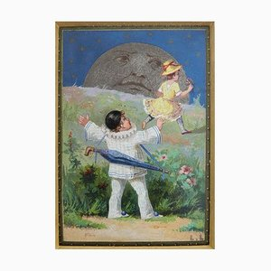 Miniature Painting Pierrot, Columbine and the Moon by Luigi Loir, 1890s