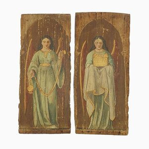 18th Century French Provincial Church Angels on Wood Panel Painting, 1780s