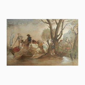 19th Century French Watercolor Villagers at Waters Edge Manner by Jules Hereau, 1870