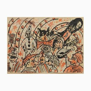 Italian Carnival Sketch by Bruno Locci, 1950s