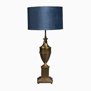 Vintage Brass Table Lamp with Blue Lampshade