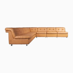 Vintage Element Sofa in Cognac Colored Leather, Set of 5
