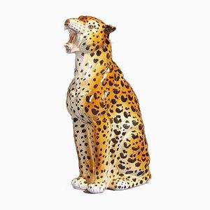 Vintage Leopard Statue in Ceramic