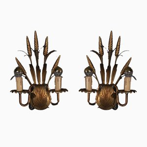 Vintage Hollywood Regency Ears of Corn Wall Lamps, Set of 2