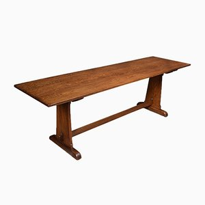 Large Antique Oak Plank Top Refectory Table
