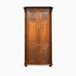 Antique Oak Country House Corner Cupboard