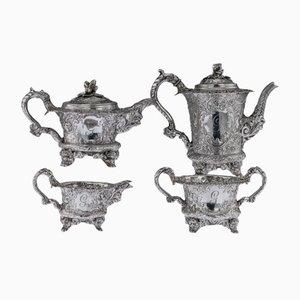 Teakholz und Teegeschirr aus Georgischem Englischem Stil, 19. Jh. Von Joseph Angell, 1820er, 4er Set