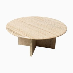 Mid-Century Round Travertine Coffee Table, 1970s