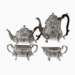 19th Century Georgian English Solid Silver Tea and Coffee Set from John Wakefield, 1810s, Set of 4