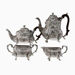 Teakholz und Teegeschirr aus Georgischem Englischem Stil, 19. Jh. Von John Wakefield, 1810er, 4er Set