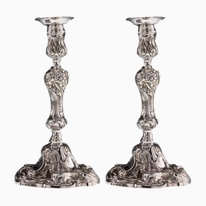 19th Century Georgian English Solid Silver Cast Candleholders from Edward Farrell, 1810s, Set of 2