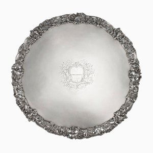 18th Century Georgian English Solid Silver Salver Tray from Arthur Annesley, 1760s