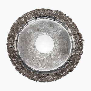 19th Century Regency English Solid Silver Salver Tray from Jonathan Hayne, 1820s