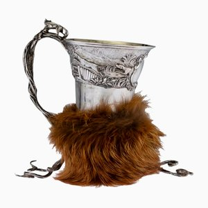 19th Century Georgian English Solid Silver Fox Stirrup Cup from Charles Reily & George Storer, 1830s